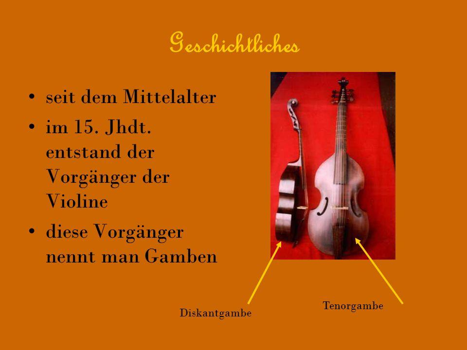 Geschichtliches seit dem Mittelalter im 15. Jhdt. entstand der Vorgänger der Violine diese Vorgänger nennt man Gamben Diskantgambe Tenorgambe