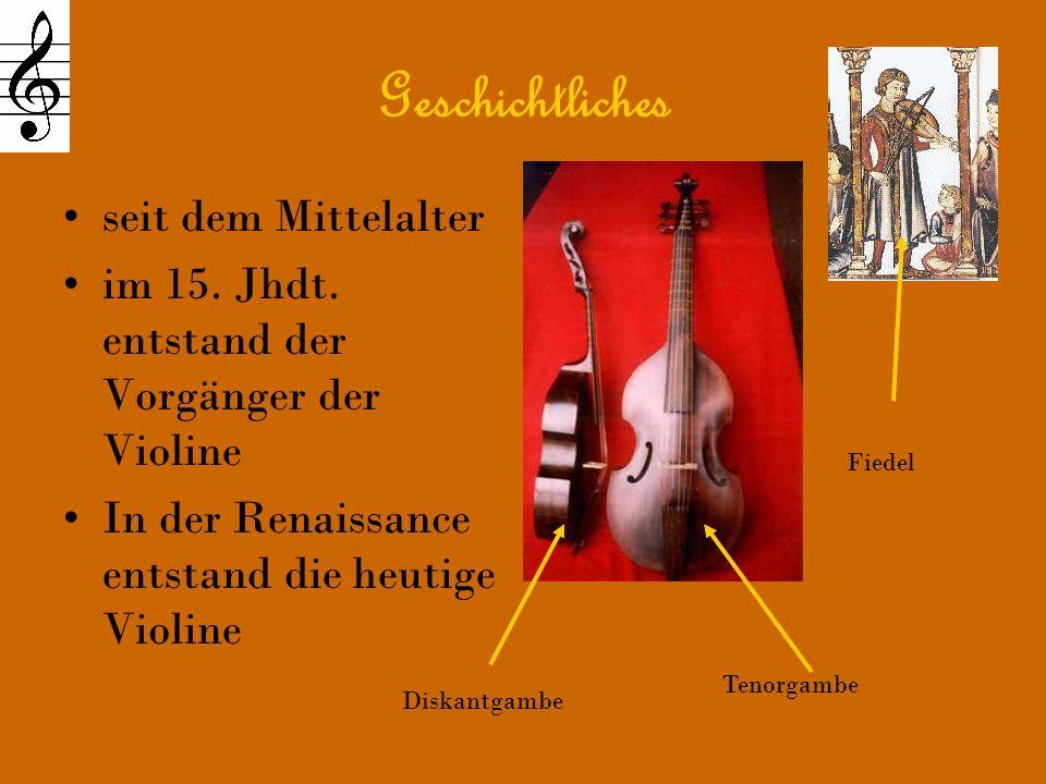 Die anderen Streichinstrumente sind gleich gebaut Italien ist heute wie damals die Geigenmetropole Die bekanntesten Geigenbauer sind: Amati, Stradivari, Guarneri Amatis Werkstatt Stradivaris Werkstatt Guaneris Werkstatt