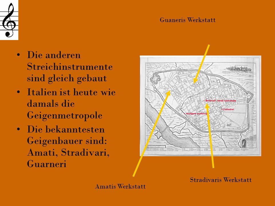Der Bau einer Violine Die Violine besteht aus: Korpus Boden Zargen Decke mit f-Löchern Stimmstock Steg Griffbrett Wirbel (Wirbelkasten) Schnecke Saiten (g, d, a, e )