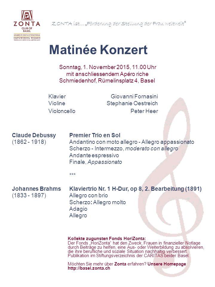Claude DebussyPremier Trio en Sol (1862 - 1918)Andantino con moto allegro - Allegro appassionato Scherzo - Intermezzo, moderato con allegro Andante espressivo Finale, Appassionato *** Johannes BrahmsKlaviertrio Nr.