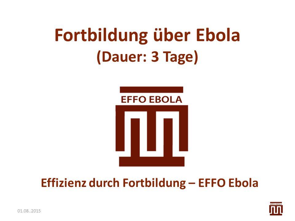 01.08..2015 Fortbildung über Ebola (Dauer: 3 Tage) Effizienz durch Fortbildung – EFFO Ebola