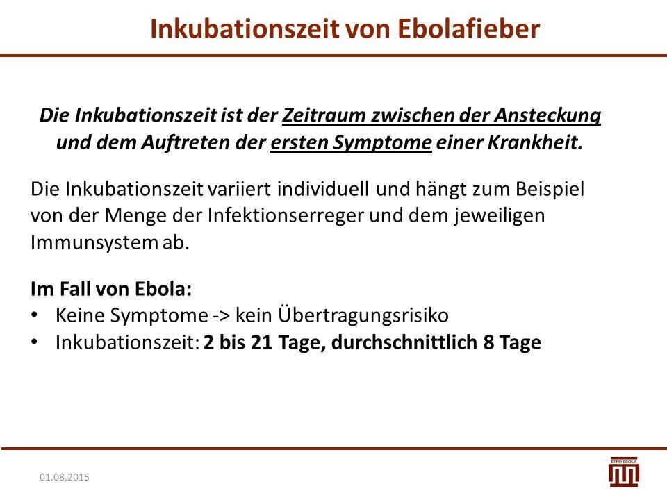 01.08.2015 Inkubationszeit von Ebolafieber Die Inkubationszeit ist der Zeitraum zwischen der Ansteckung und dem Auftreten der ersten Symptome einer Kr