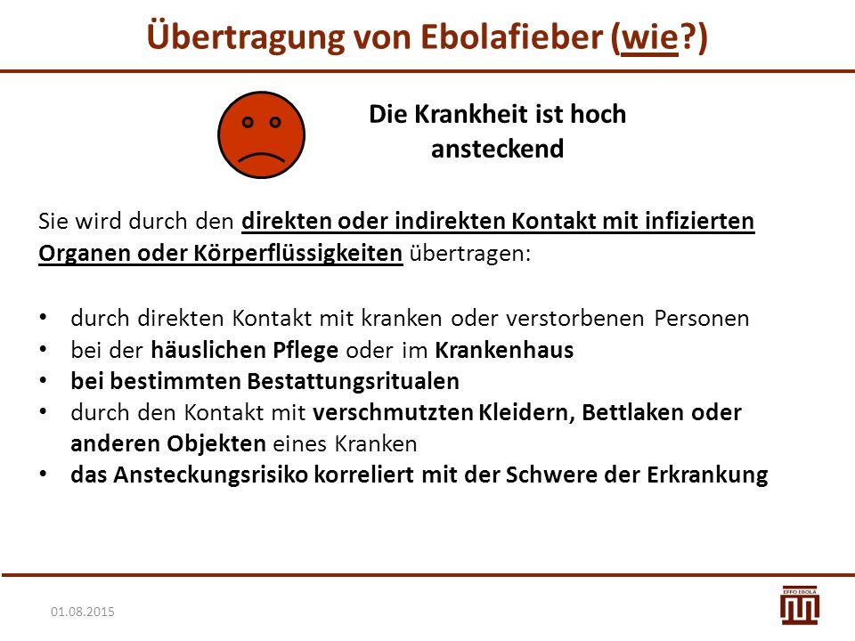01.08.2015 Übertragung von Ebolafieber (wie?) Sie wird durch den direkten oder indirekten Kontakt mit infizierten Organen oder Körperflüssigkeiten übe