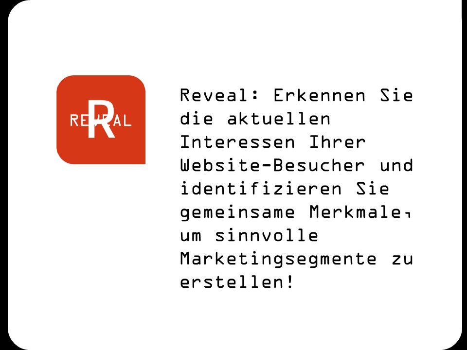 REVEAL Reveal: Erkennen Sie die aktuellen Interessen Ihrer Website-Besucher und identifizieren Sie gemeinsame Merkmale, um sinnvolle Marketingsegmente zu erstellen!