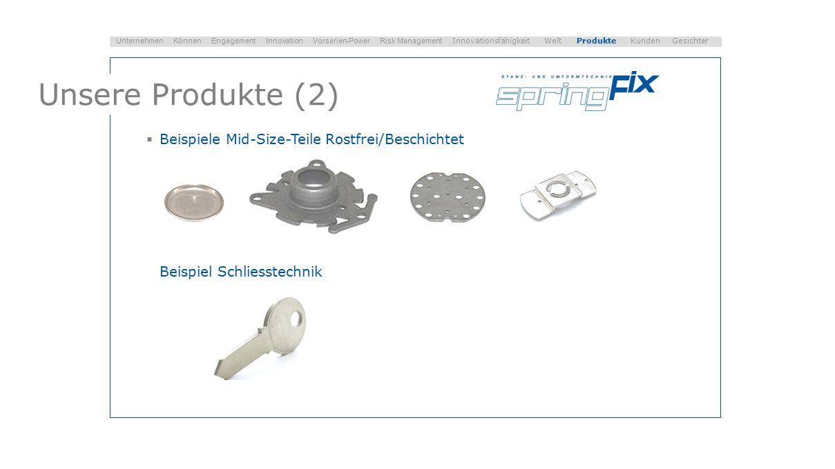 Unsere Produkte (2)  Beispiele Mid-Size-Teile Rostfrei/Beschichtet Beispiel Schliesstechnik Unternehmen Können Engagement Innovation Vorserien-Power