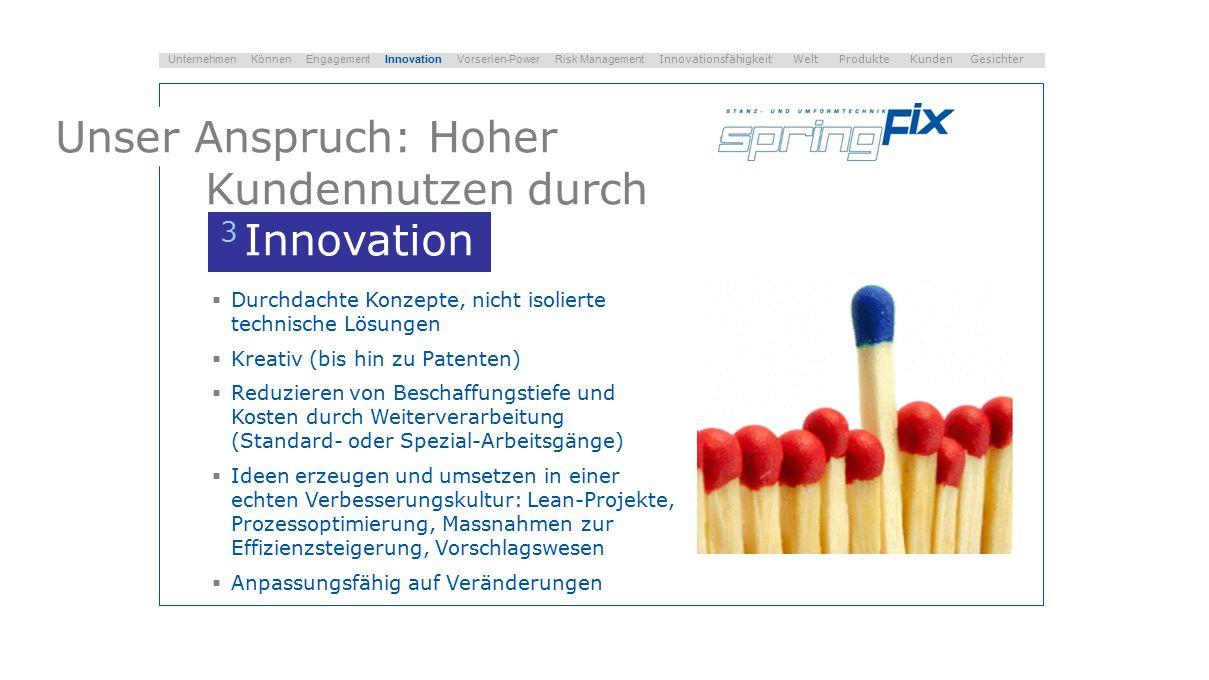 Unser Anspruch: Hoher Kundennutzen durch 3 Innovation  Durchdachte Konzepte, nicht isolierte technische Lösungen  Kreativ (bis hin zu Patenten)  Re