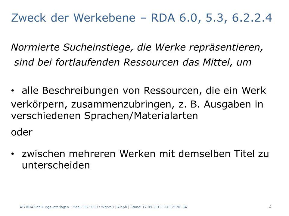2.1 Merkmal – c) Erscheinungsort – 303 $g AG RDA Schulungsunterlagen – Modul 5B.16.01: Werke I   Aleph   Stand: 17.09.2015   CC BY-NC-SA15 AlephRDAElementErfassung – Werk 1 Erfassung – Werk 2 3036.2.2Werktitel$t Aus der Land- wirtschaft $h Hamburg $t Aus der Land- wirtschaft $h Leipzig 6.5Ursprungsort als unterscheidendes Merkmal 3312.3.2Haupttitel$a Aus der Landwirtschaft 4192.8.2Erscheinungsort$a Hamburg$a Leipzig ; Halle (Saale)