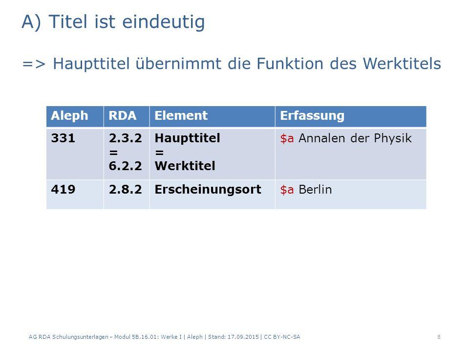 B) Titel ist nicht eindeutig => Werktitel wird erfasst AG RDA Schulungsunterlagen – Modul 5B.16.01: Werke I   Aleph   Stand: 17.09.2015   CC BY-NC-SA9 AlephRDAElementErfassung – Werk 1 Erfassung – Werk 2 Erfassung – Werk 3 3036.2.2Werktitel[= 331]$t Landwirt- schaftliche Rundschau $h Berlin $t Land- wirtschaftliche Rundschau $h Lippstadt 6.5Ursprungs- ort als unterschei- dendes Merkmal 3312.3.2 Haupttitel $a Landwirt- schaftliche Rundschau $a Landwirtschaft- liche Rundschau 4192.8.2Erschei- nungsort $a München$a Berlin$a Lippstadt
