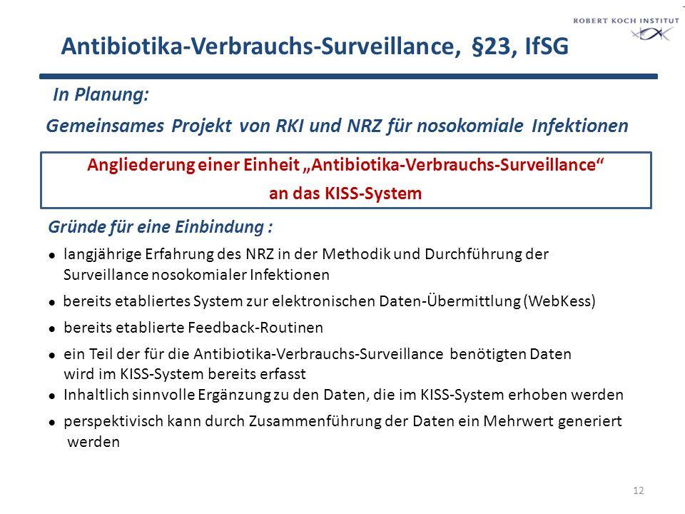 Antibiotika-Verbrauchs-Surveillance, §23, IfSG Geplantes Vorgehen: ● Entwicklung der technischen Voraussetzungen wie z.B.