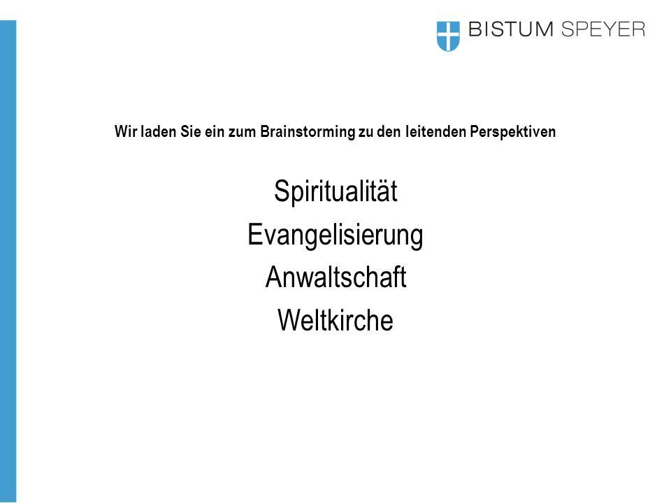 Wir laden Sie ein zum Brainstorming zu den leitenden Perspektiven Spiritualität Evangelisierung Anwaltschaft Weltkirche