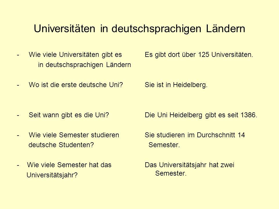 Universitäten in deutschsprachigen Ländern - Wie viele Universitäten gibt es in deutschsprachigen Ländern - Wo ist die erste deutsche Uni.