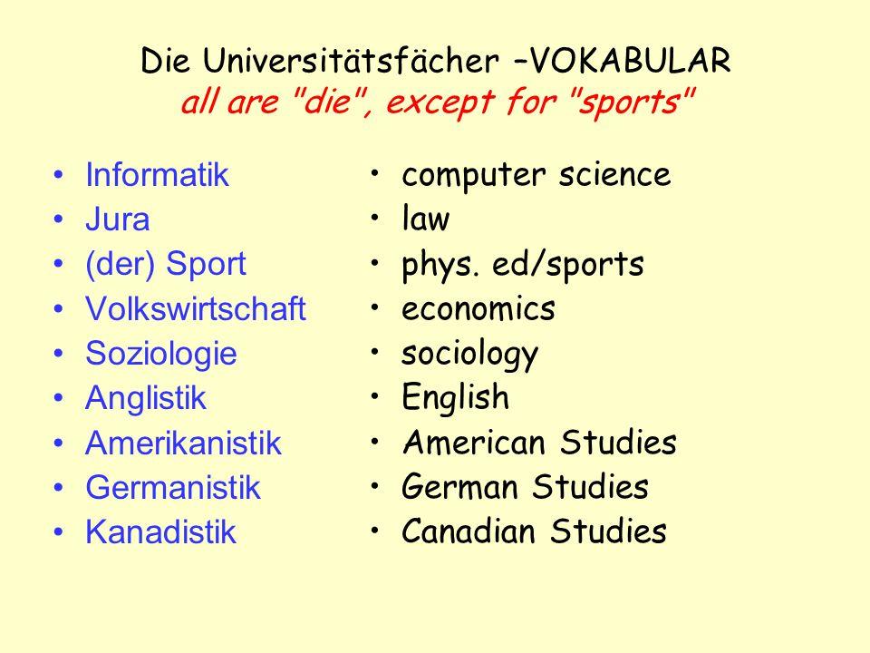 Die Universitätsfächer –VOKABULAR all are die , except for sports Informatik Jura (der) Sport Volkswirtschaft Soziologie Anglistik Amerikanistik Germanistik Kanadistik computer science law phys.