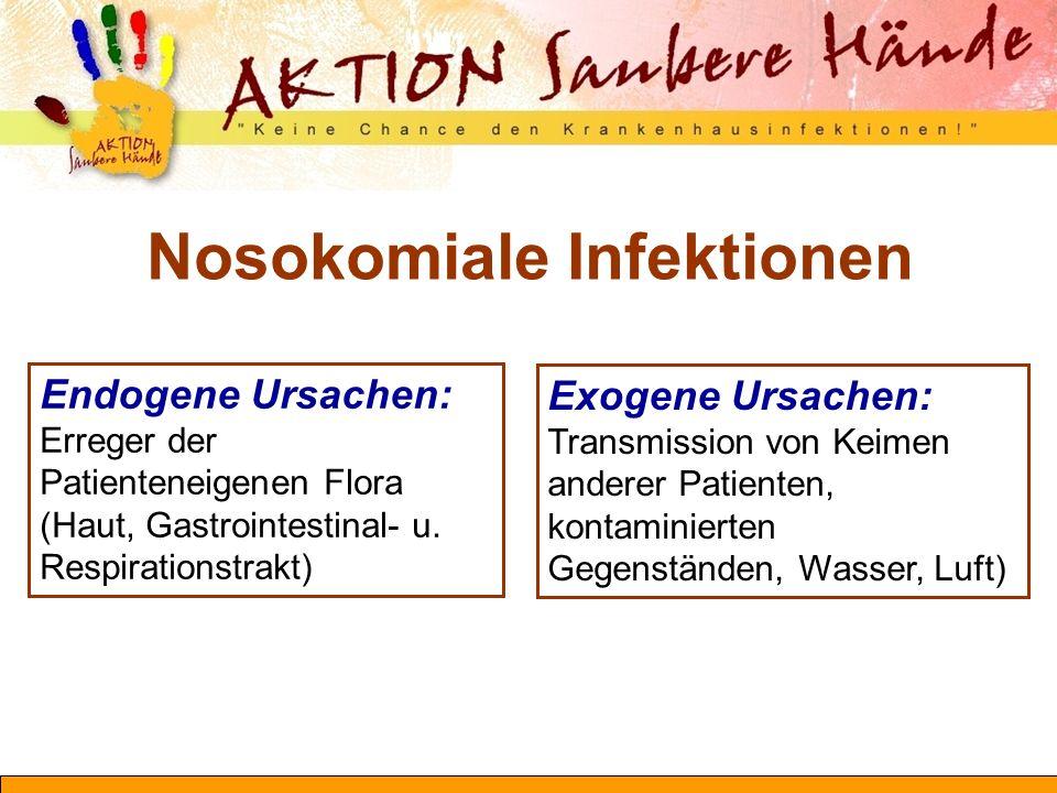 Endogene Ursachen: Erreger der Patienteneigenen Flora (Haut, Gastrointestinal- u. Respirationstrakt) Exogene Ursachen: Transmission von Keimen anderer
