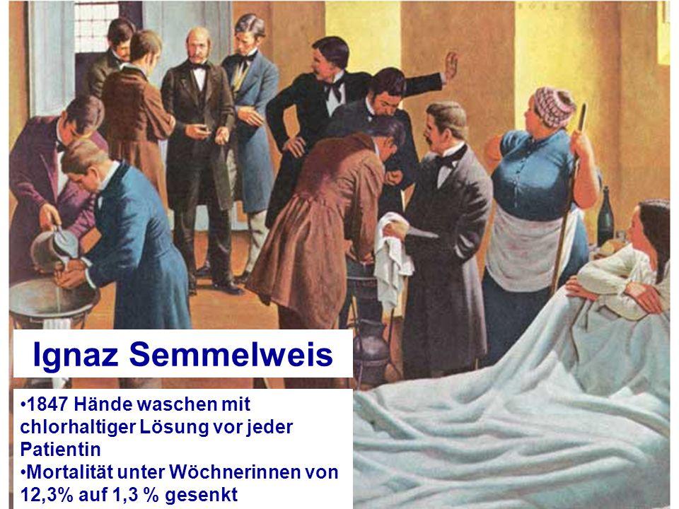 1847 Hände waschen mit chlorhaltiger Lösung vor jeder Patientin Mortalität unter Wöchnerinnen von 12,3% auf 1,3 % gesenkt Ignaz Semmelweis