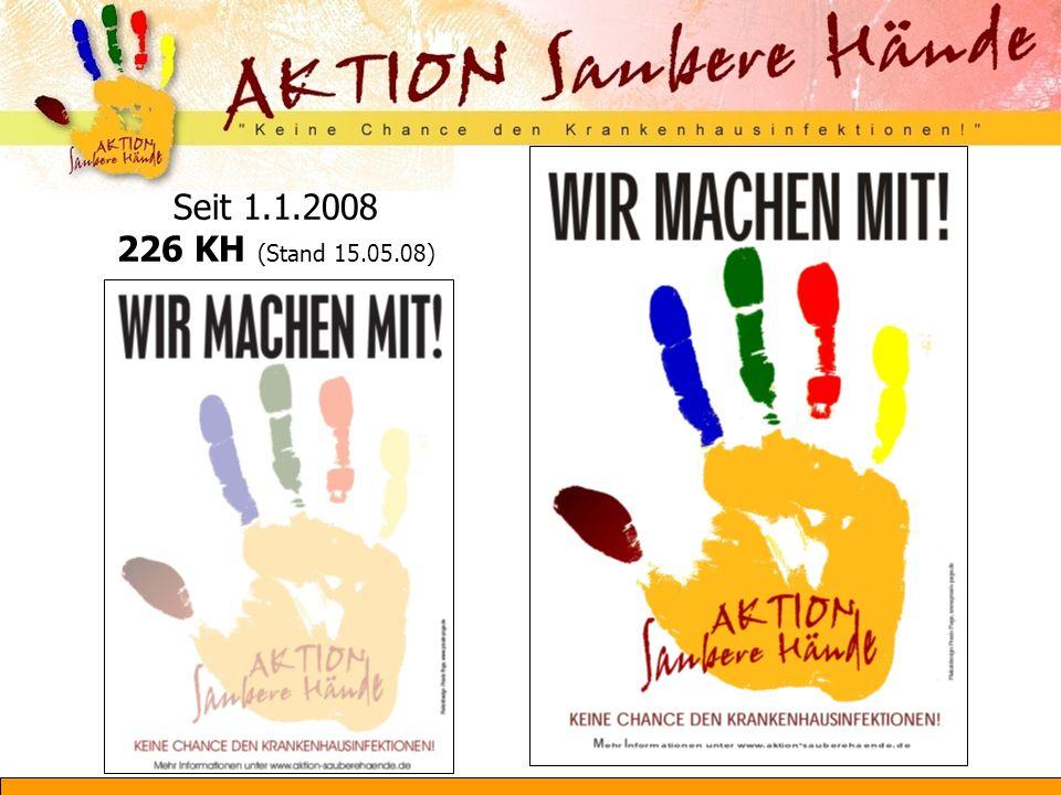 Inhalte des ersten nationalen Aktionstages (22.10.08) Lokale Aktionen in den beteiligten Krankenhäusern Beiträge in Fernsehen und Printmedien Unterstützung/Aktionen durch Partner Themen Technik der Händedesinfektion Effektivität der Händedesinfektion auf Transmission Hautpflege