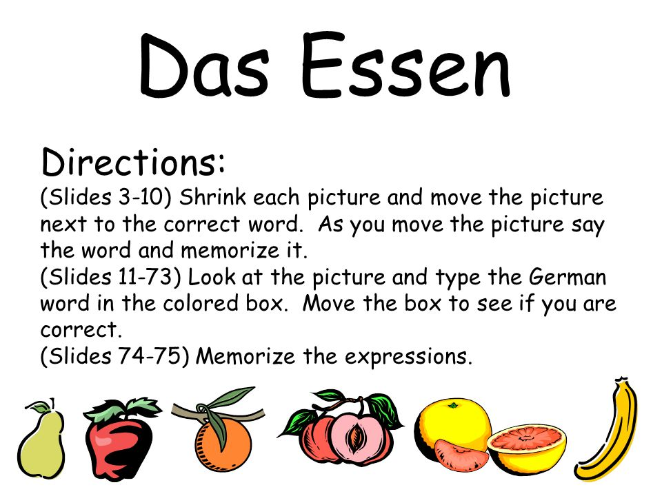 Directions: (Slides 3-10) Shrink each picture and move the picture next to the correct word. As you move the picture say the word and memorize it. (Sl