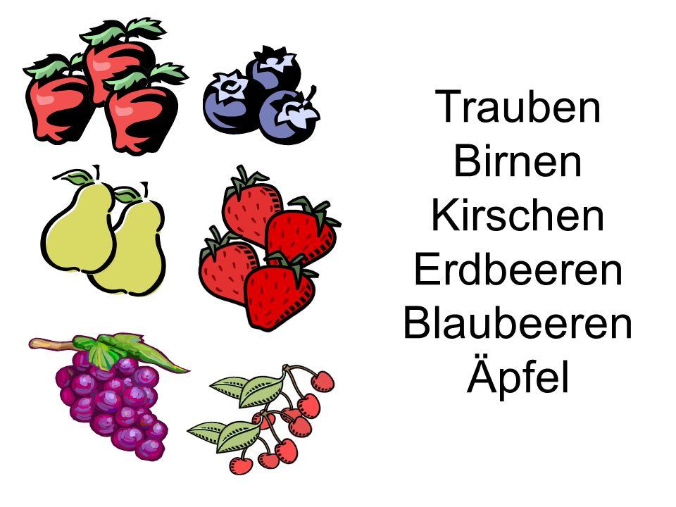 Trauben Birnen Kirschen Erdbeeren Blaubeeren Äpfel