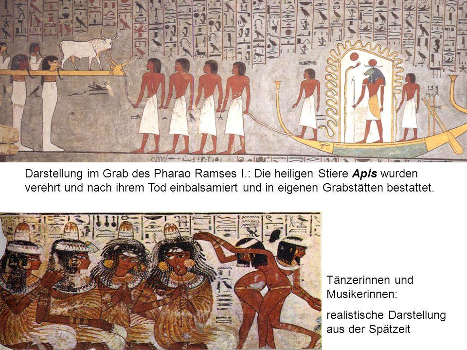 Darstellung im Grab des Pharao Ramses I.: Die heiligen Stiere Apis wurden verehrt und nach ihrem Tod einbalsamiert und in eigenen Grabstätten bestattet.