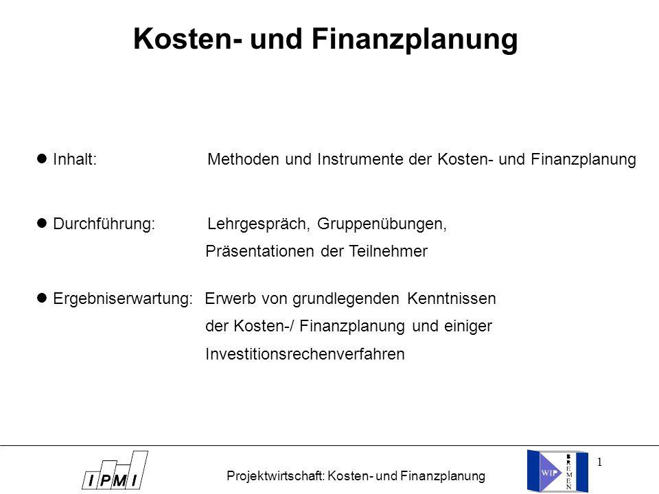 1 Inhalt: Methoden und Instrumente der Kosten- und Finanzplanung Durchführung: Lehrgespräch, Gruppenübungen, Präsentationen der Teilnehmer Ergebniserw