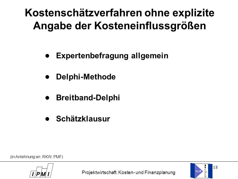 18 Kostenschätzverfahren ohne explizite Angabe der Kosteneinflussgrößen l Expertenbefragung allgemein l Delphi-Methode l Breitband-Delphi l Schätzklau
