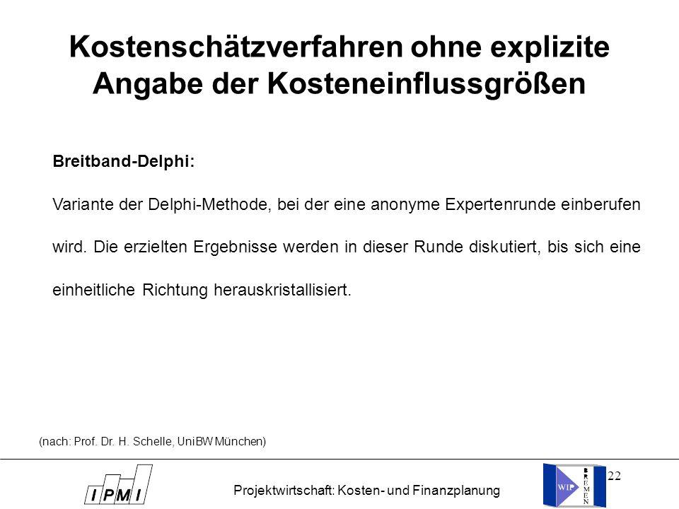 22 Kostenschätzverfahren ohne explizite Angabe der Kosteneinflussgrößen Breitband-Delphi: Variante der Delphi-Methode, bei der eine anonyme Expertenru