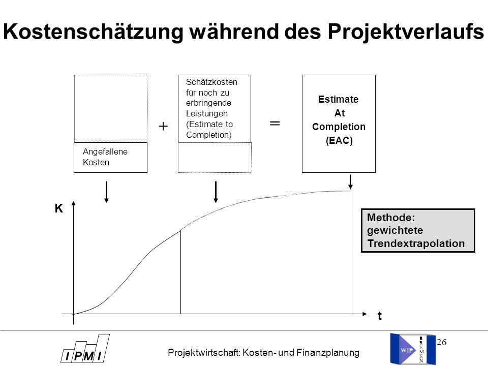 26 Kostenschätzung während des Projektverlaufs t Methode: gewichtete Trendextrapolation K Angefallene Kosten Schätzkosten für noch zu erbringende Leis