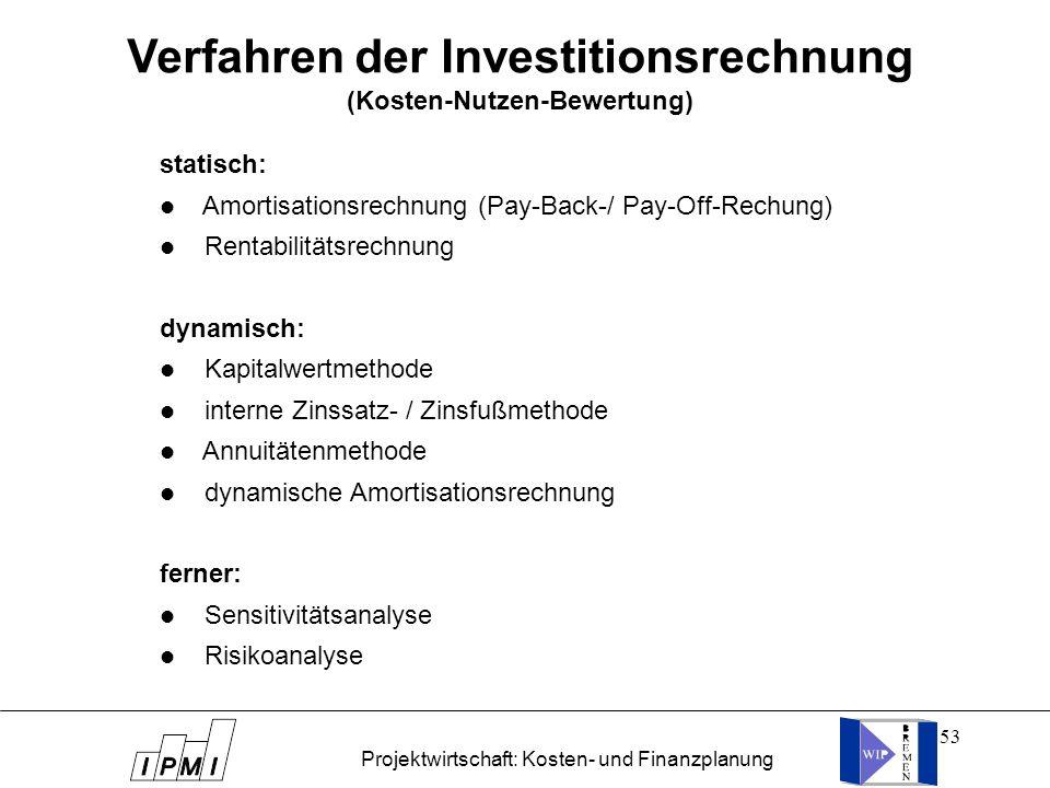 53 statisch: l Amortisationsrechnung (Pay-Back-/ Pay-Off-Rechung) l Rentabilitätsrechnung dynamisch: l Kapitalwertmethode l interne Zinssatz- / Zinsfu