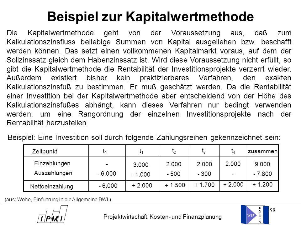 58 (aus: Wöhe, Einführung in die Allgemeine BWL) Beispiel zur Kapitalwertmethode Die Kapitalwertmethode geht von der Voraussetzung aus, daß zum Kalkul