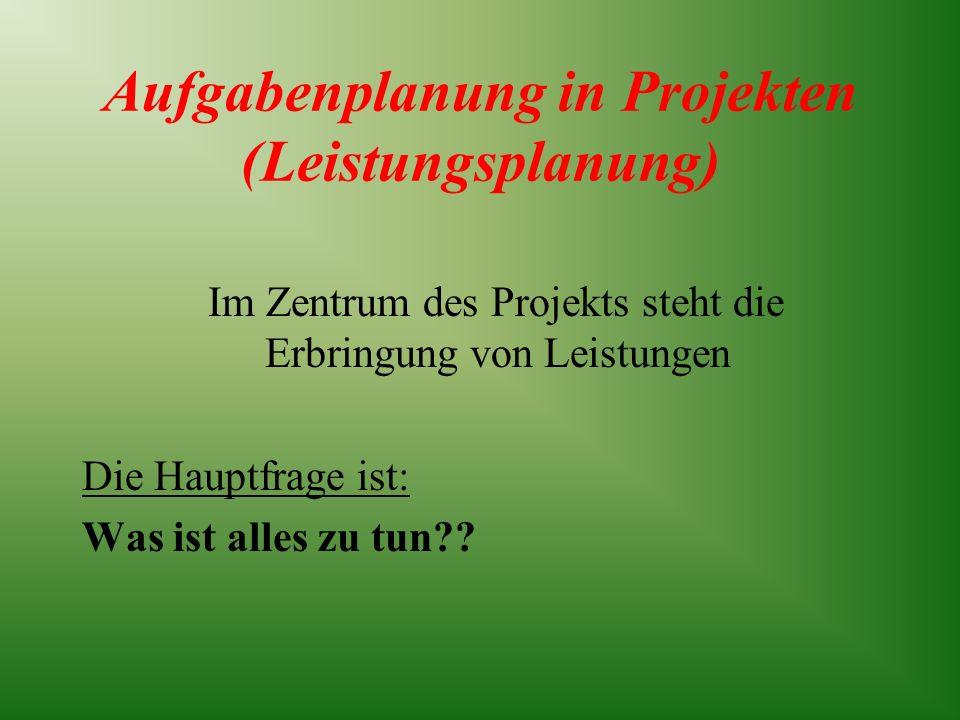 Aufgabenplanung in Projekten (Leistungsplanung) Im Zentrum des Projekts steht die Erbringung von Leistungen Die Hauptfrage ist: Was ist alles zu tun??