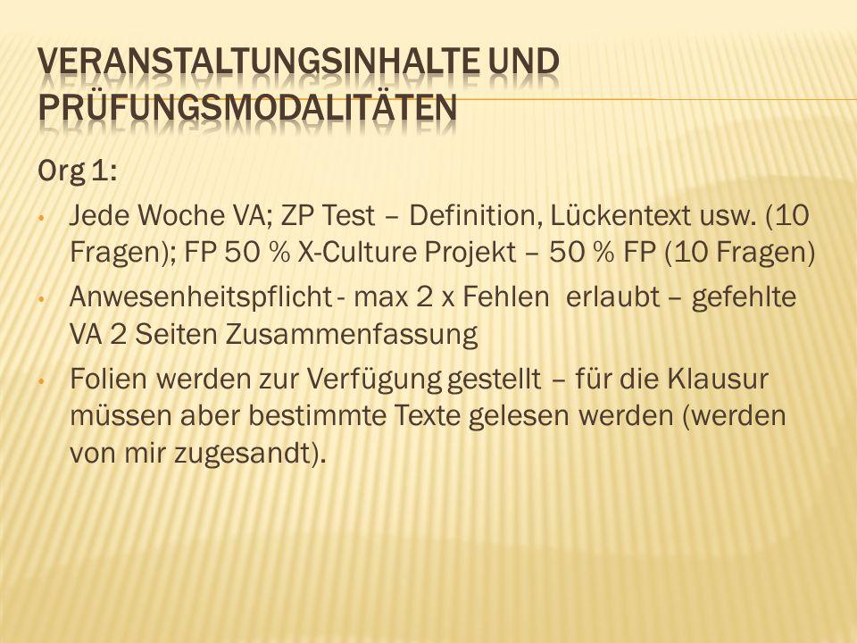 Org 1: Jede Woche VA; ZP Test – Definition, Lückentext usw.