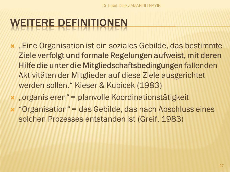 """ """"Eine Organisation ist ein soziales Gebilde, das bestimmte Ziele verfolgt und formale Regelungen aufweist, mit deren Hilfe die unter die Mitgliedschaftsbedingungen fallenden Aktivitäten der Mitglieder auf diese Ziele ausgerichtet werden sollen. Kieser & Kubicek (1983)  """"organisieren = planvolle Koordinationstätigkeit  Organisation = das Gebilde, das nach Abschluss eines solchen Prozesses entstanden ist (Greif, 1983) Dr."""
