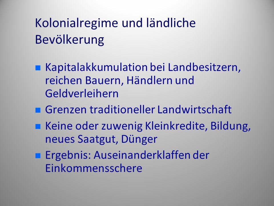 Kolonialregime und ländliche Bevölkerung Kapitalakkumulation bei Landbesitzern, reichen Bauern, Händlern und Geldverleihern Grenzen traditioneller Lan