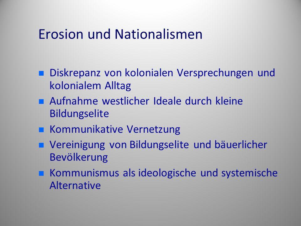 Erosion und Nationalismen Diskrepanz von kolonialen Versprechungen und kolonialem Alltag Aufnahme westlicher Ideale durch kleine Bildungselite Kommuni