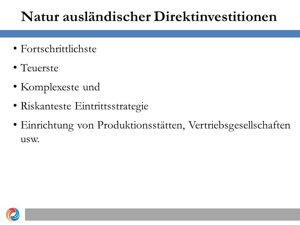 Natur ausländischer Direktinvestitionen Fortschrittlichste Teuerste Komplexeste und Riskanteste Eintrittsstrategie Einrichtung von Produktionsstätten, Vertriebsgesellschaften usw.