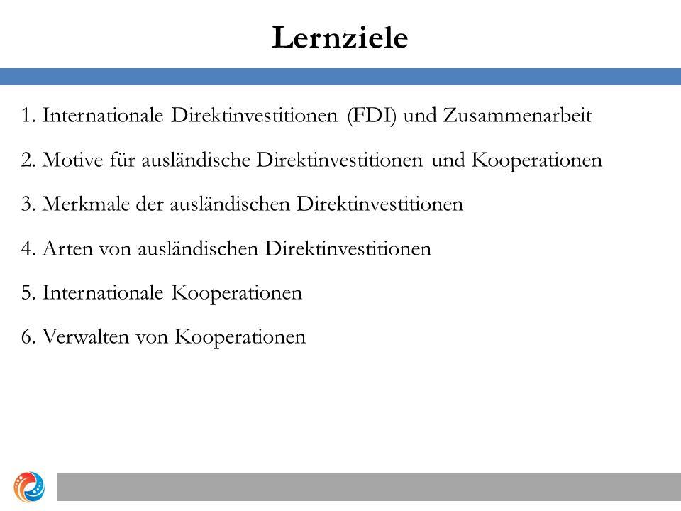 Lernziele 1. Internationale Direktinvestitionen (FDI) und Zusammenarbeit 2. Motive für ausländische Direktinvestitionen und Kooperationen 3. Merkmale