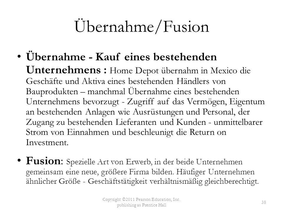 Übernahme/Fusion Übernahme - Kauf eines bestehenden Unternehmens : Home Depot übernahm in Mexico die Geschäfte und Aktiva eines bestehenden Händlers v