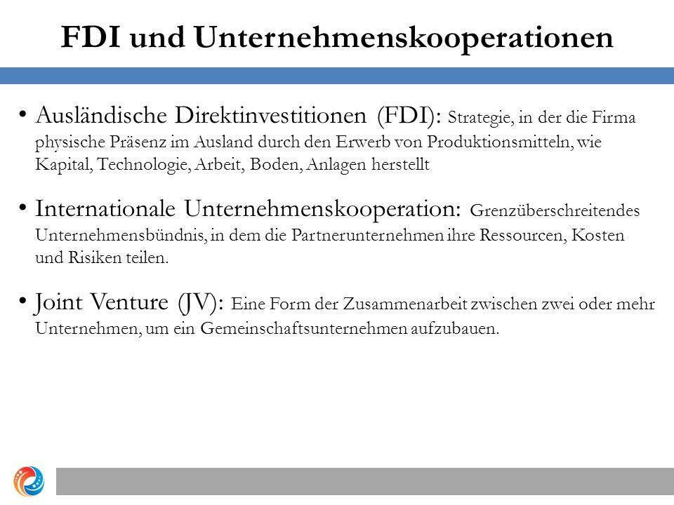 FDI und Unternehmenskooperationen Ausländische Direktinvestitionen (FDI): Strategie, in der die Firma physische Präsenz im Ausland durch den Erwerb von Produktionsmitteln, wie Kapital, Technologie, Arbeit, Boden, Anlagen herstellt Internationale Unternehmenskooperation: Grenzüberschreitendes Unternehmensbündnis, in dem die Partnerunternehmen ihre Ressourcen, Kosten und Risiken teilen.