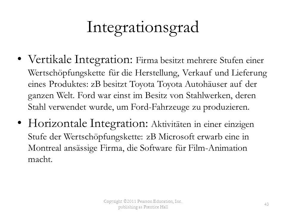 Integrationsgrad Vertikale Integration: Firma besitzt mehrere Stufen einer Wertschöpfungskette für die Herstellung, Verkauf und Lieferung eines Produk