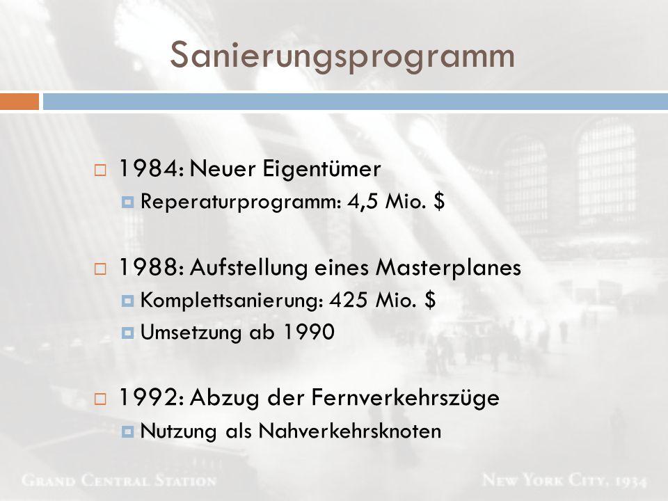 Sanierungsprogramm  1984: Neuer Eigentümer  Reperaturprogramm: 4,5 Mio. $  1988: Aufstellung eines Masterplanes  Komplettsanierung: 425 Mio. $  U