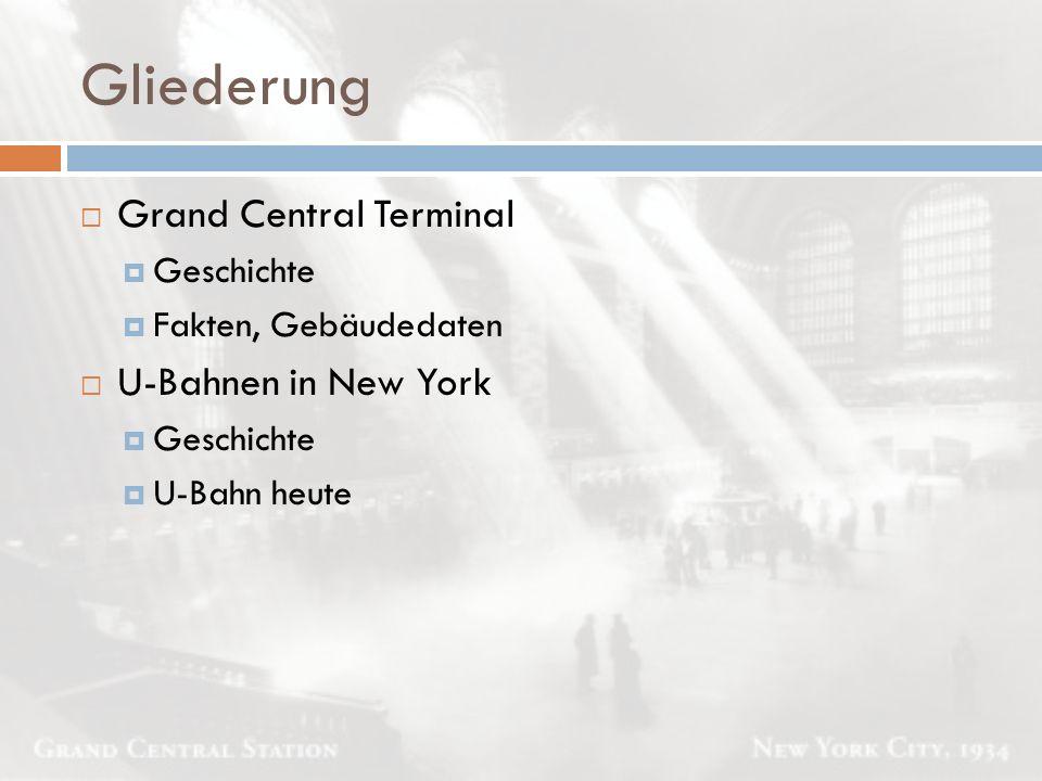 Gliederung  Grand Central Terminal  Geschichte  Fakten, Gebäudedaten  U-Bahnen in New York  Geschichte  U-Bahn heute