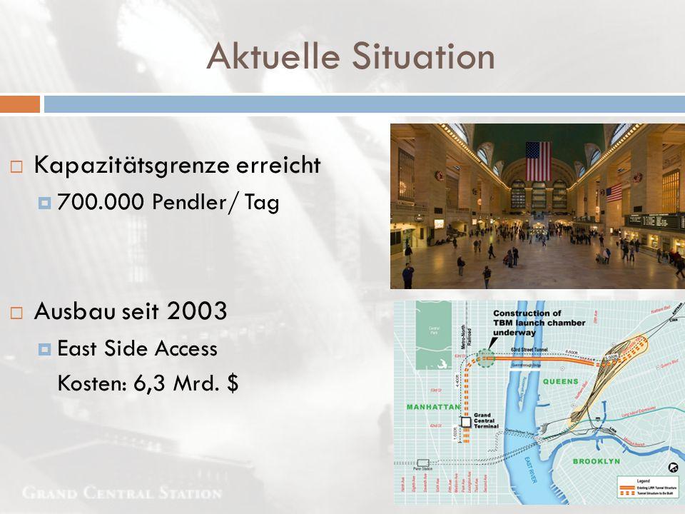  Kapazitätsgrenze erreicht  700.000 Pendler/ Tag  Ausbau seit 2003  East Side Access Kosten: 6,3 Mrd. $