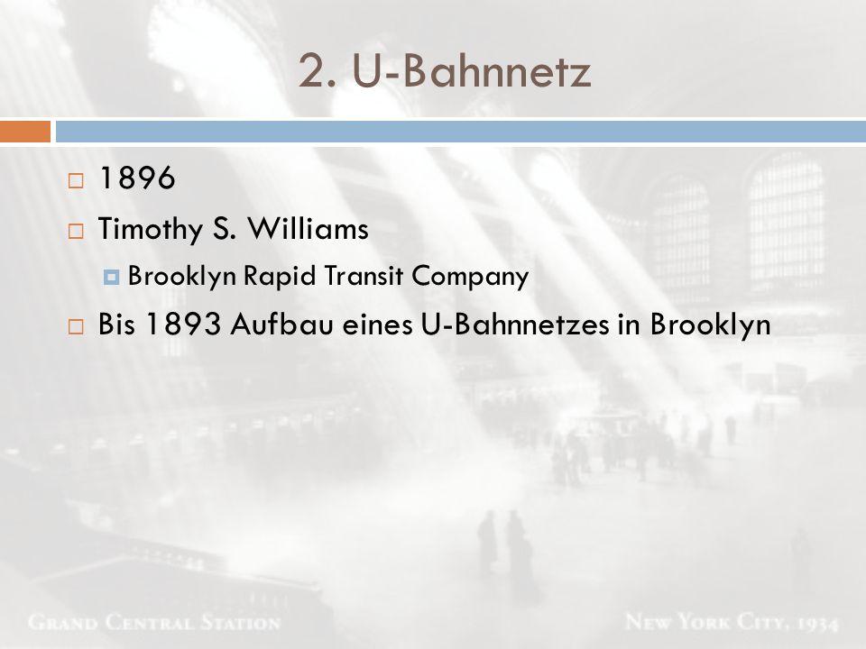 2. U-Bahnnetz  1896  Timothy S. Williams  Brooklyn Rapid Transit Company  Bis 1893 Aufbau eines U-Bahnnetzes in Brooklyn