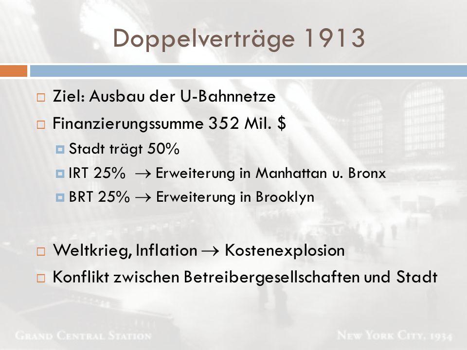 Doppelverträge 1913  Ziel: Ausbau der U-Bahnnetze  Finanzierungssumme 352 Mil. $  Stadt trägt 50%  IRT 25%  Erweiterung in Manhattan u. Bronx  B