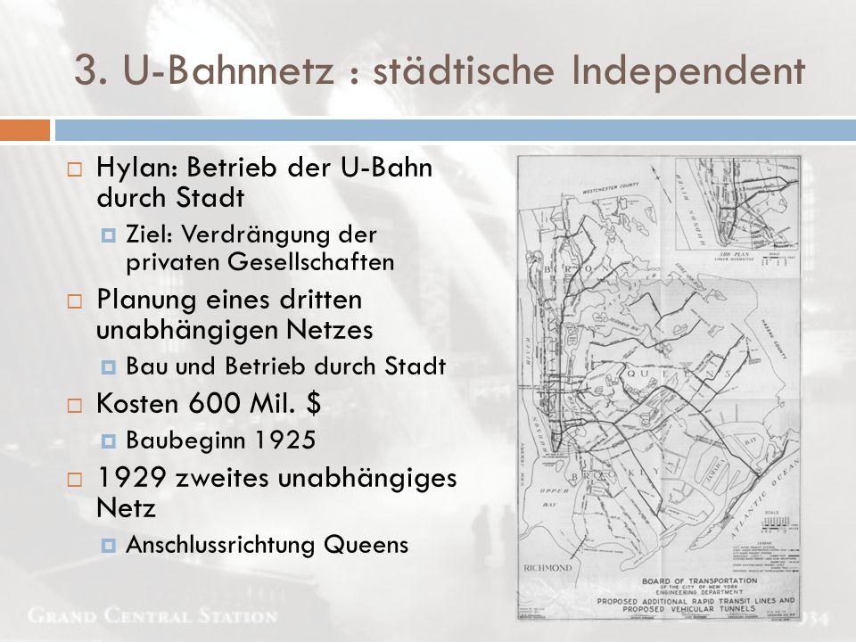 3. U-Bahnnetz : städtische Independent  Hylan: Betrieb der U-Bahn durch Stadt  Ziel: Verdrängung der privaten Gesellschaften  Planung eines dritten