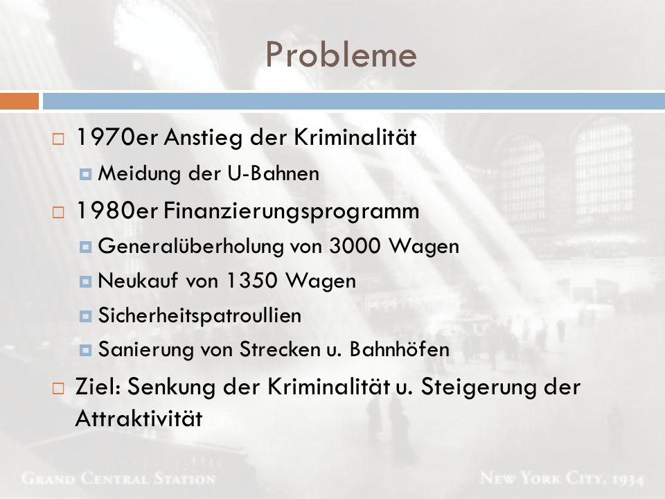 Probleme  1970er Anstieg der Kriminalität  Meidung der U-Bahnen  1980er Finanzierungsprogramm  Generalüberholung von 3000 Wagen  Neukauf von 1350