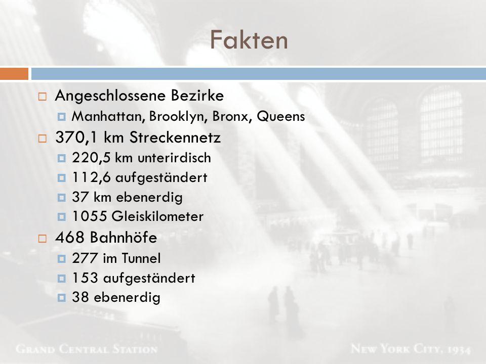 Fakten  Angeschlossene Bezirke  Manhattan, Brooklyn, Bronx, Queens  370,1 km Streckennetz  220,5 km unterirdisch  112,6 aufgeständert  37 km ebe