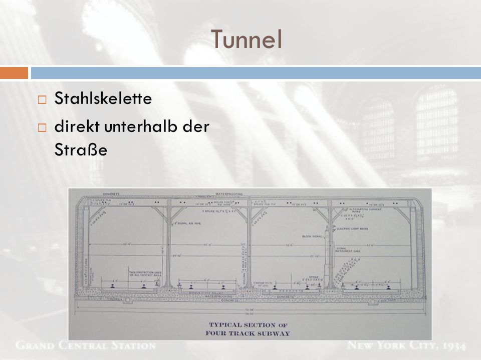 Tunnel  Stahlskelette  direkt unterhalb der Straße