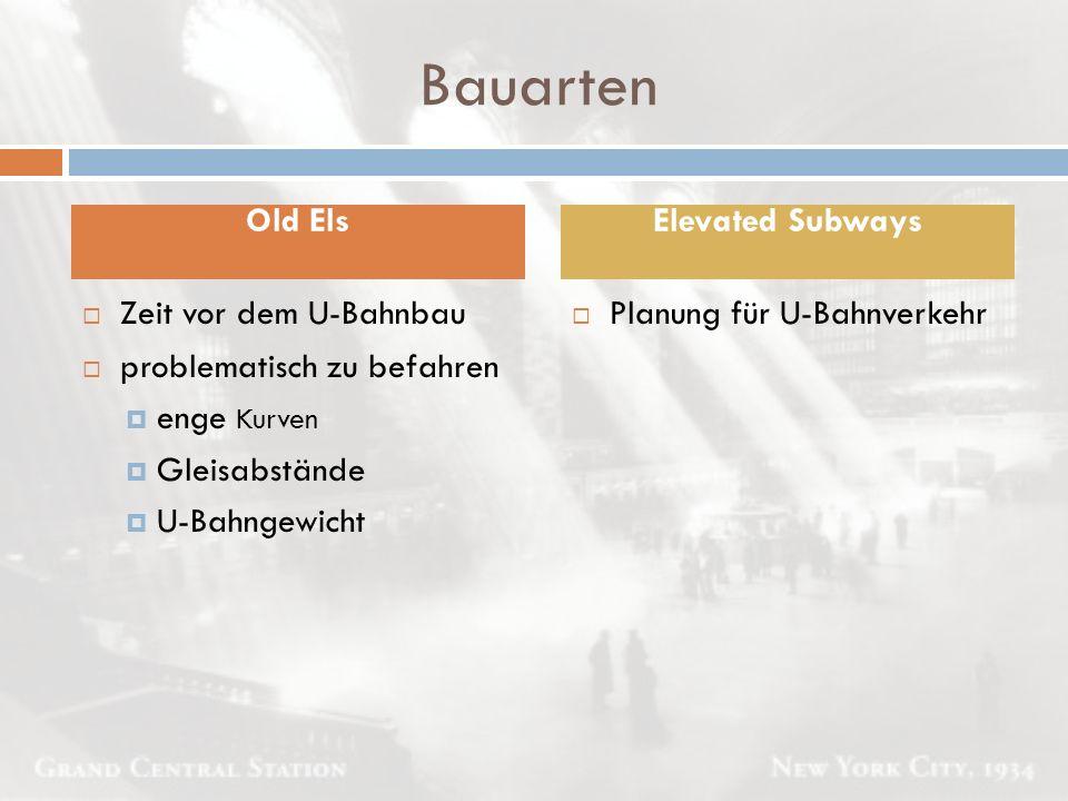 Bauarten  Planung für U-Bahnverkehr Old ElsElevated Subways  Zeit vor dem U-Bahnbau  problematisch zu befahren  enge Kurven  Gleisabstände  U-Ba