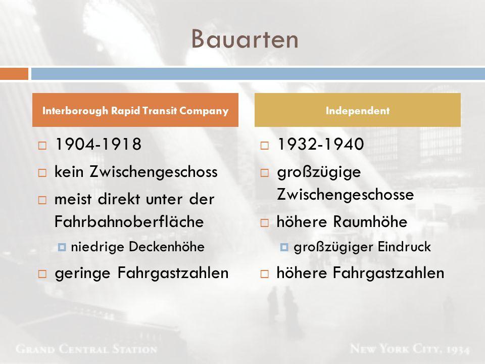 Bauarten  1904-1918  kein Zwischengeschoss  meist direkt unter der Fahrbahnoberfläche  niedrige Deckenhöhe  geringe Fahrgastzahlen  1932-1940 