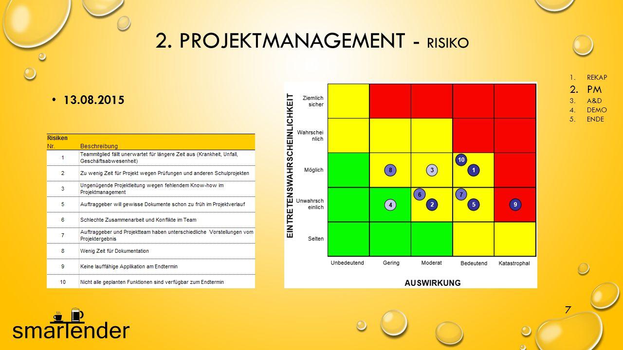 2. PROJEKTMANAGEMENT - RISIKO 7 13.08.2015 1.REKAP 2.PM 3.A&D 4.DEMO 5.ENDE